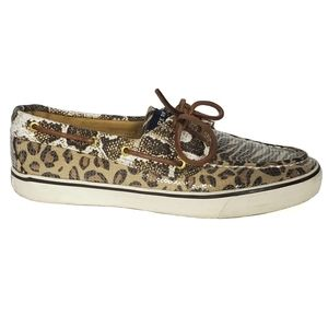 Sperry Animal Print Sequin Boat Shoes size 8.5